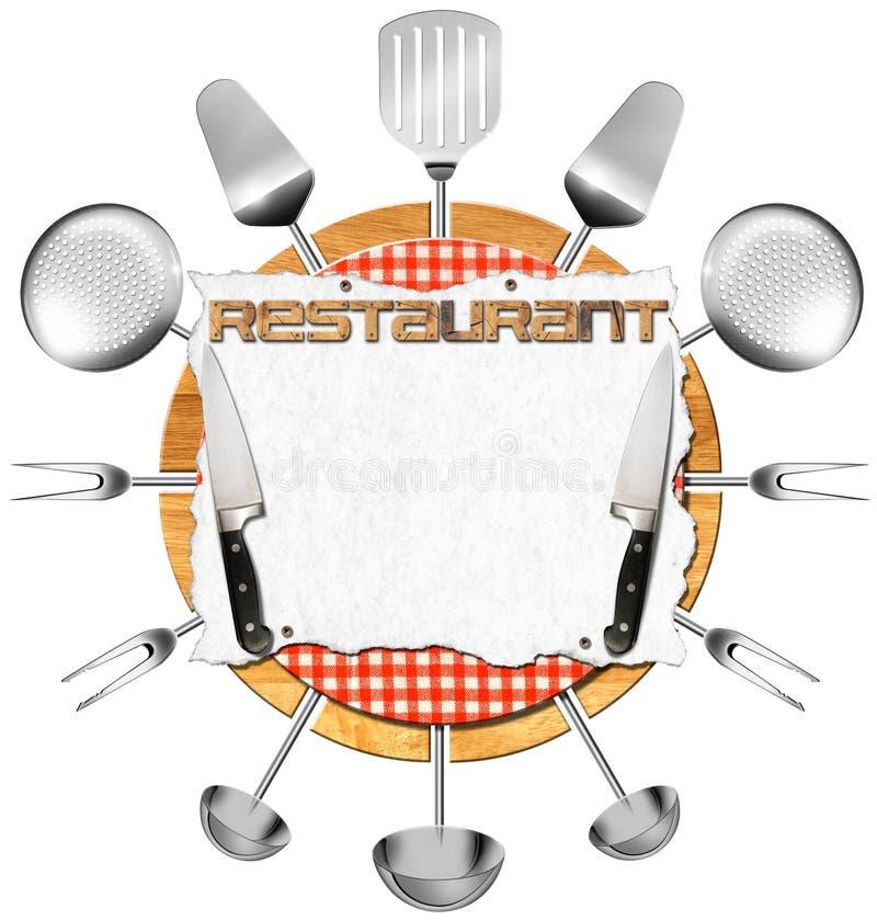 Letrero del restaurante con los utensilios de la cocina ilustración del vector