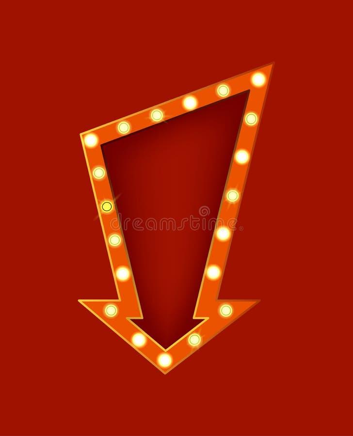 Letrero detallado realista de la muestra que brilla intensamente 3d Vector libre illustration