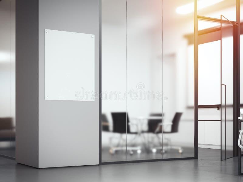 Letrero en la oficina con las divisiones de cristal representación 3d libre illustration