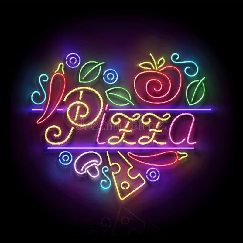 Letrero italiano del corazón de la pizza stock de ilustración