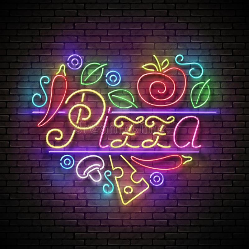 Letrero italiano del corazón de la pizza ilustración del vector