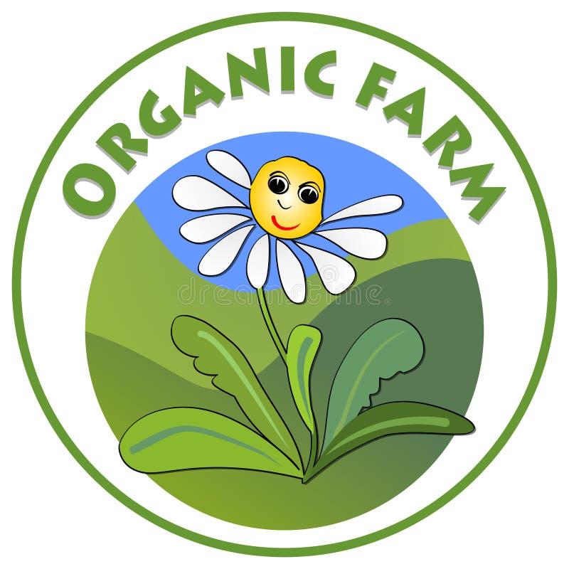 Letrero orgánico de la granja, margarita alegre de la flor blanca con la cara sonriente en el prado verde en forma del círculo, e ilustración del vector
