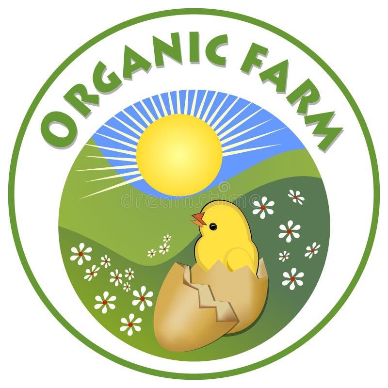 Letrero orgánico de la granja, polluelo amarillo lindo adentro en cáscara de huevo en el prado verde en forma del círculo, emblem ilustración del vector