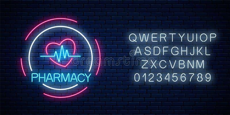 Letrero que brilla intensamente de la farmacia de neón con forma del corazón y el gráfico del pulso con alfabeto La muestra ilumi ilustración del vector