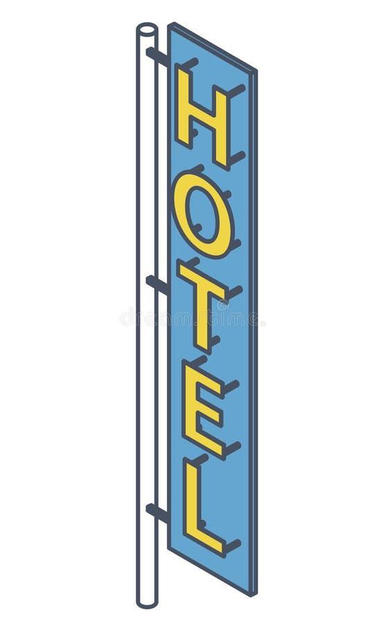 Letrero resumido del hotel Publicidad al aire libre de neón en fachada del motel ilustración del vector