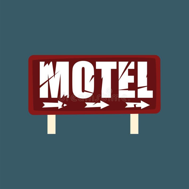Letrero retro de la calle del motel, ejemplo del vector de la bandera del vintage libre illustration