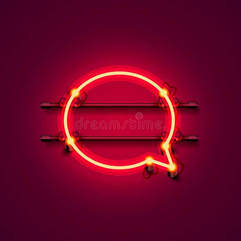 Letrero rojo de la ciudad del símbolo del color de neón de la charla stock de ilustración