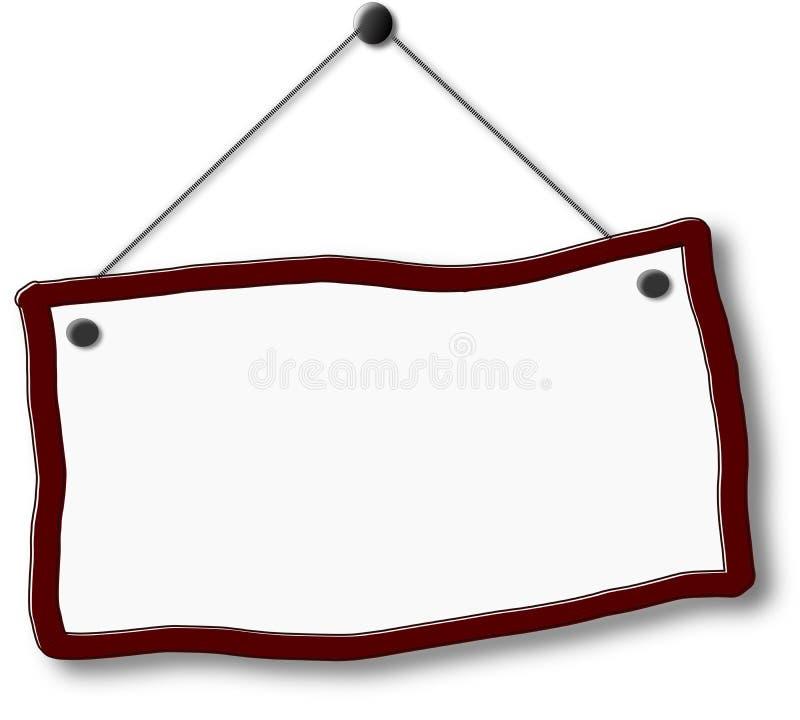 Letrero vacío que cuelga en clavo stock de ilustración