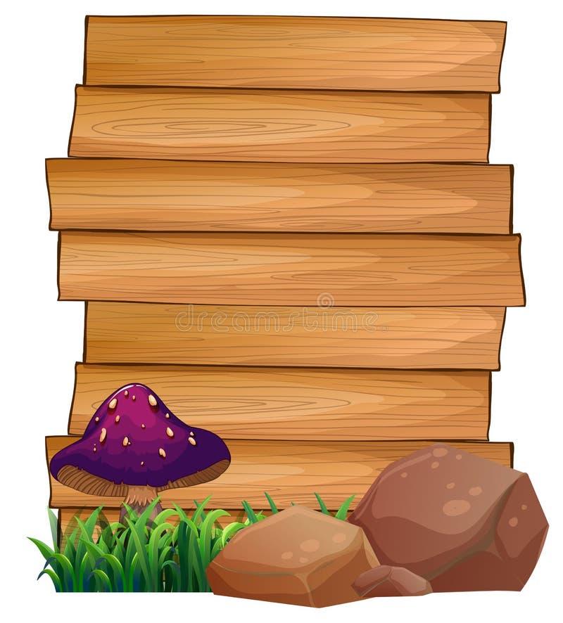 Letreros de madera con una seta y rocas en la parte inferior ilustración del vector