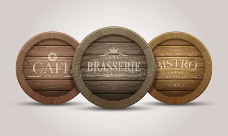 Letreros de madera del barril stock de ilustración