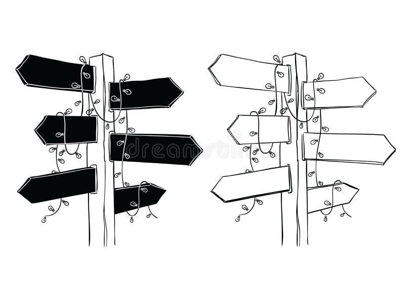 Letreros de madera exhaustos de la mano con las luces de la secuencia, ejemplo del vector ilustración del vector