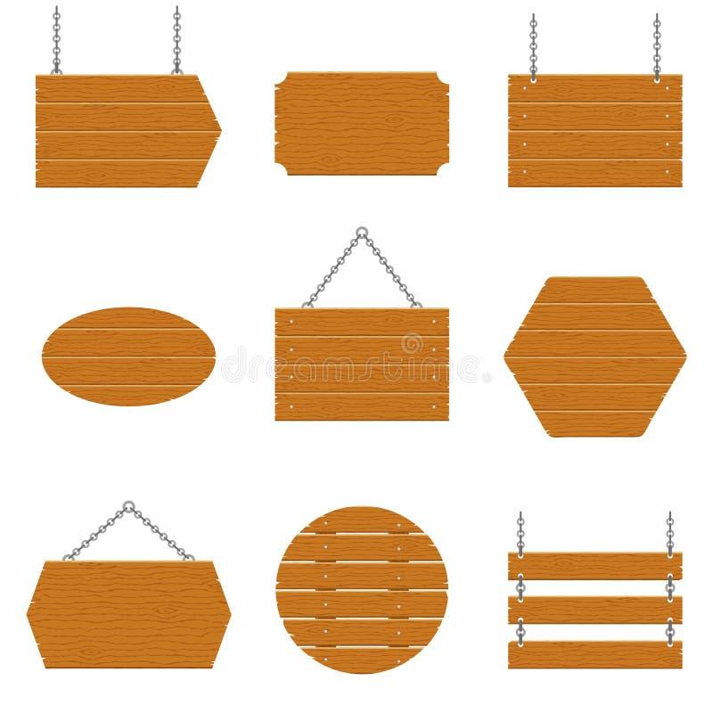Letreros de madera y sistema de madera del tablón aislados en el fondo blanco Muestras y símbolos de comunicar un mensaje en la c ilustración del vector