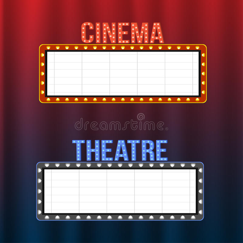Letreros del cine y del teatro en las cortinas azules y rojas con los proyectores y los marcos del vintage ilustración del vector
