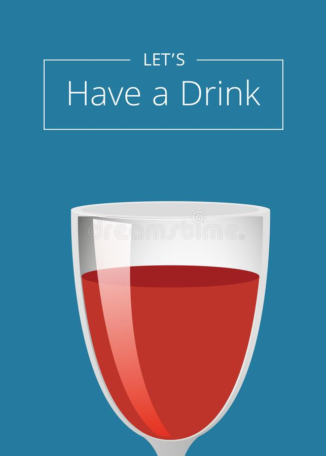Lets有与酒鸡尾酒的饮料海报在玻璃 向量例证