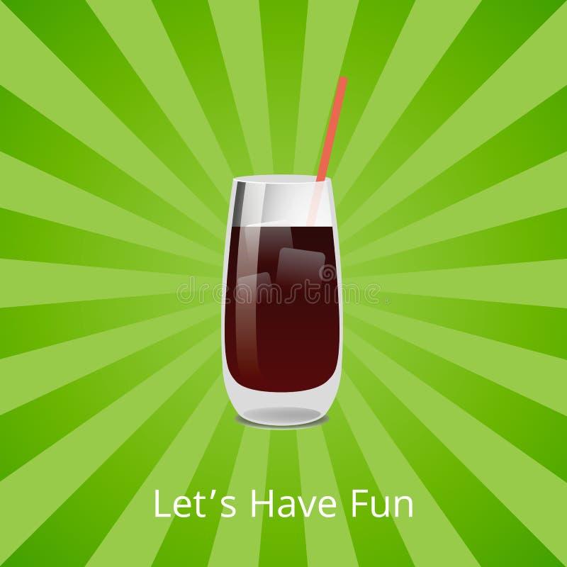 Lets有乐趣伏特加酒或兰姆酒可乐鸡尾酒与冰 皇族释放例证