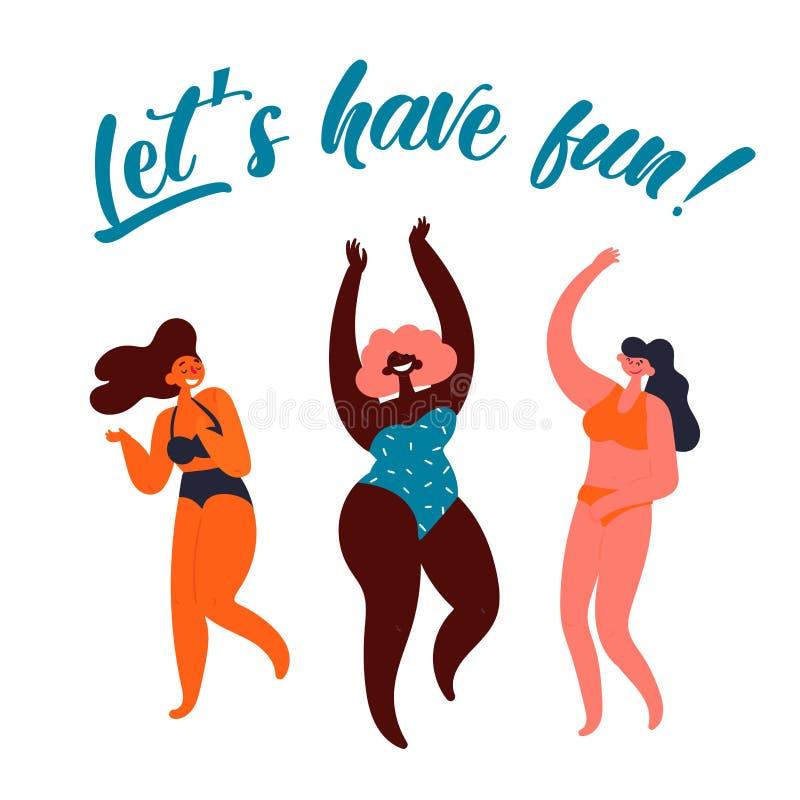 Lets获得乐趣 党海报 小组年轻女人 向量例证