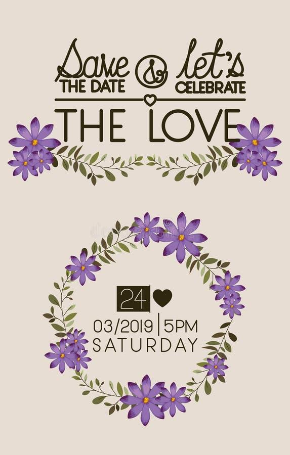 Lets празднует крону карточки влюбленности флористическую бесплатная иллюстрация
