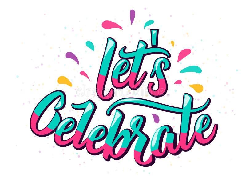Lets celebra el texto de las letras con la letra del color y diseña elementos libre illustration