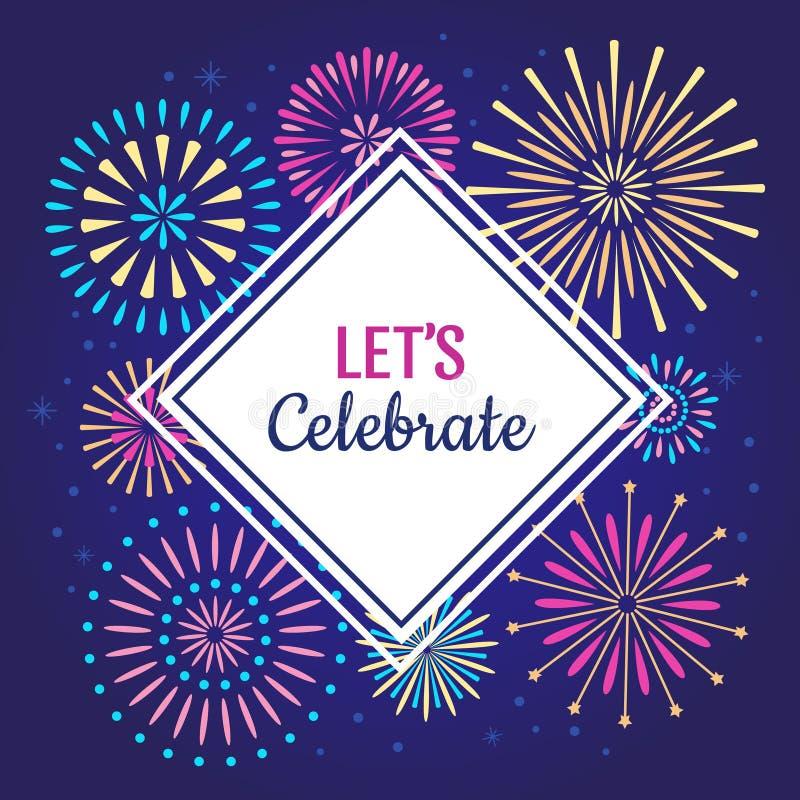 Lets Celebrate poster. Winter holiday celebration fireworks, anniversary party firework or celebrates vector background stock illustration
