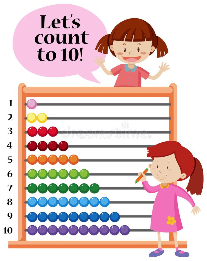 Lets count to 10 abacus concept. Illustration stock illustration