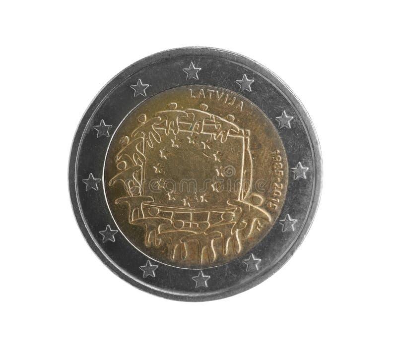 Lets euro geïsoleerd muntstuk twee stock afbeeldingen