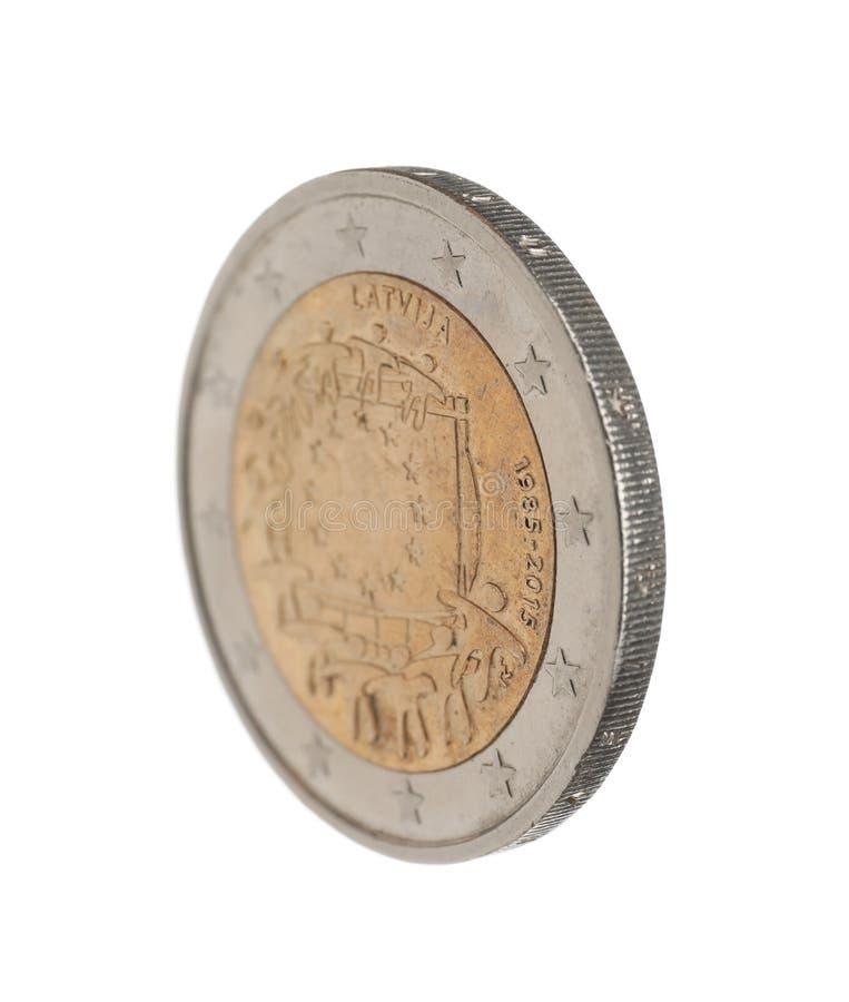 Lets euro geïsoleerd muntstuk twee royalty-vrije stock afbeelding