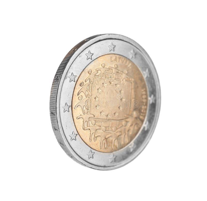 Lets euro geïsoleerd muntstuk twee stock afbeelding