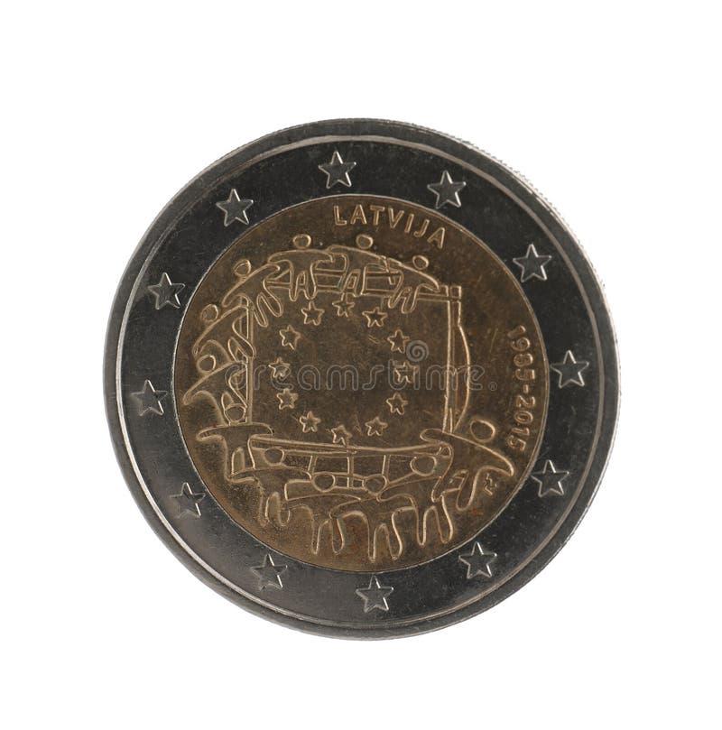 Lets euro geïsoleerd muntstuk twee stock foto