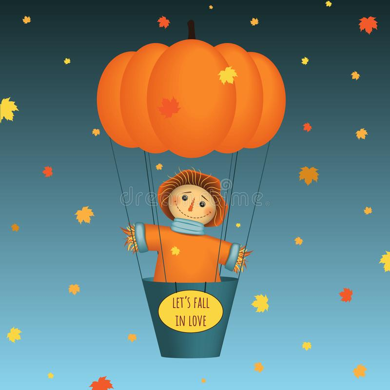 Lets fall in love - card. Scarecrow flying on pumpkin air balloon. Autumn leaves on background. Vector illustration. Lets fall in love - card. Scarecrow flying royalty free illustration