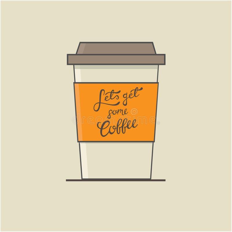 Lets get some coffee mug flat illustration stock illustration