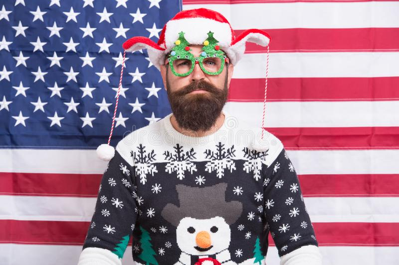 Lets get started. Bearded american man celebrate new year. National us flag. Patriotic hipster celebrate winter holidays royalty free stock image