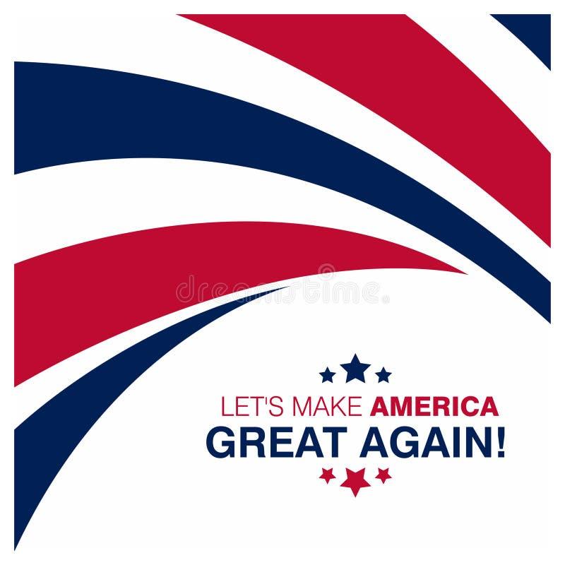 Lets hace América gran tipografía con diseño de la bandera en backgroun libre illustration
