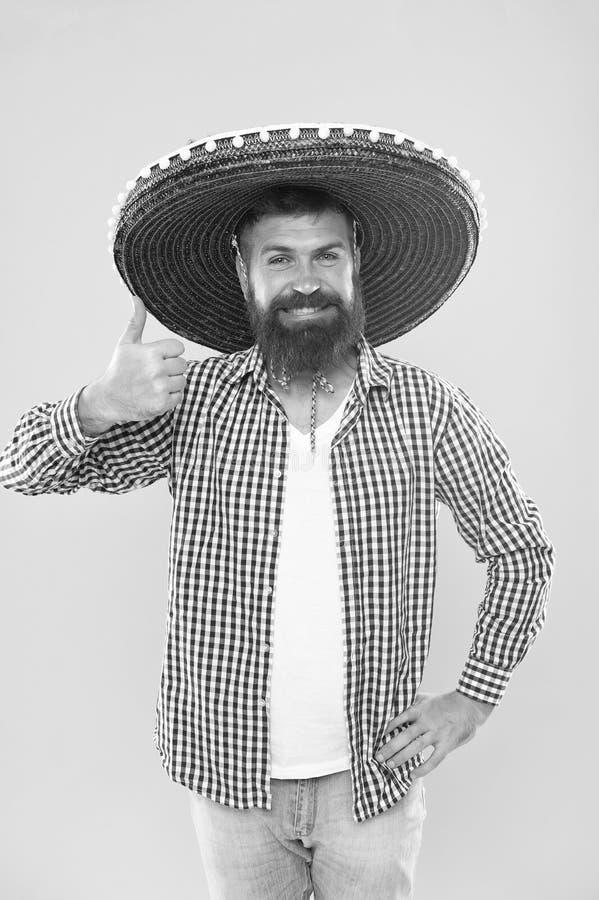 Lets har gyckel Lycklig festlig dr?kt f?r mexicansk grabb som ?r klar att fira Mannen upps?kte den mexikanska hatten f?r den glad royaltyfri fotografi