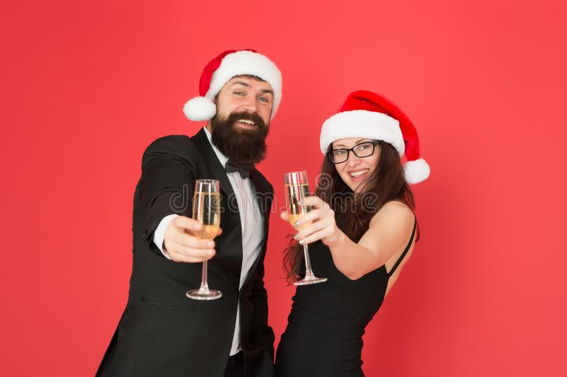 Lets have fun. Office party. Couple at corporate party. Happy new year. Bearded businessman in tuxedo and girl elegant stock photography