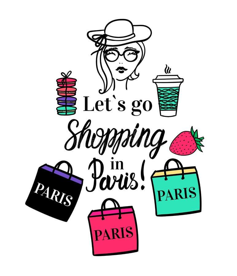 Lets ir a hacer compras en París Ejemplo aislado vector de la moda con color Muchacha con el café a ir a ahuecar, bolso de la tie stock de ilustración