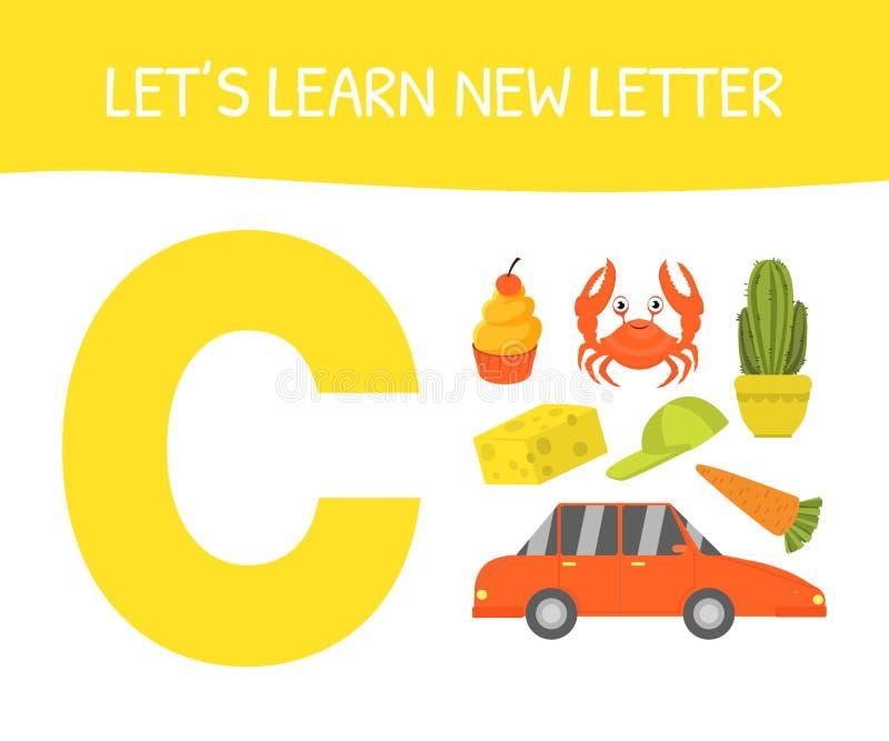 Lets Learn New Letter A, Educational Game for Preschool Kids, Cupcake, Crab, Cactus, Cap, Carrot, Car, Cheese Vector lizenzfreie abbildung