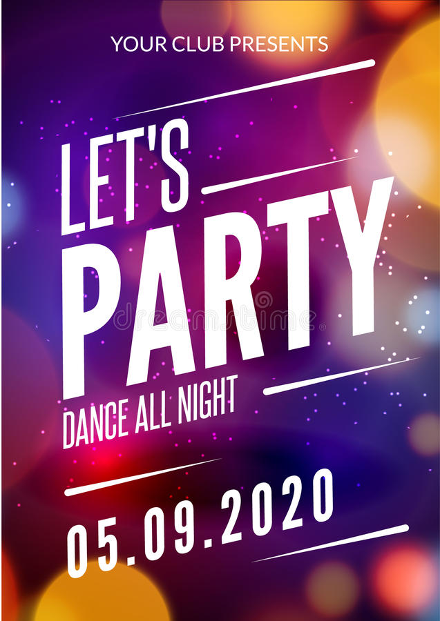 Lets Party Design Poster. Night Club Template. Music Disco Party ...