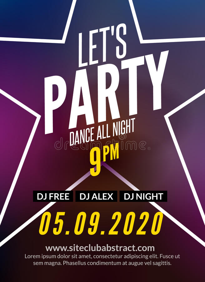 Lets Party Design Poster. Night Club Template. Music Party ...