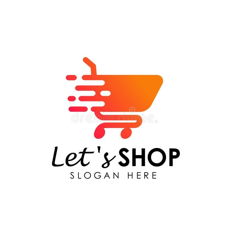 Lets shopping logo design template. shopping cart icon designs. Lets shopping logo design template. shopping cart icon design stock illustration