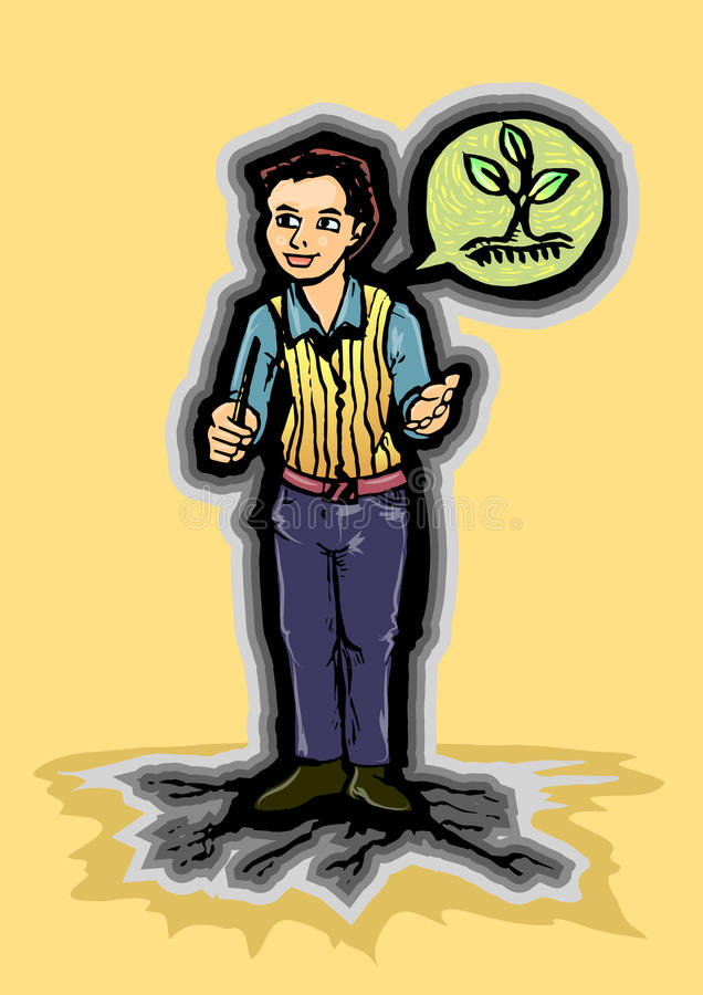 Lets talking about earth today. Hand draw illustration of young man standing on root style land in pose talking about plant