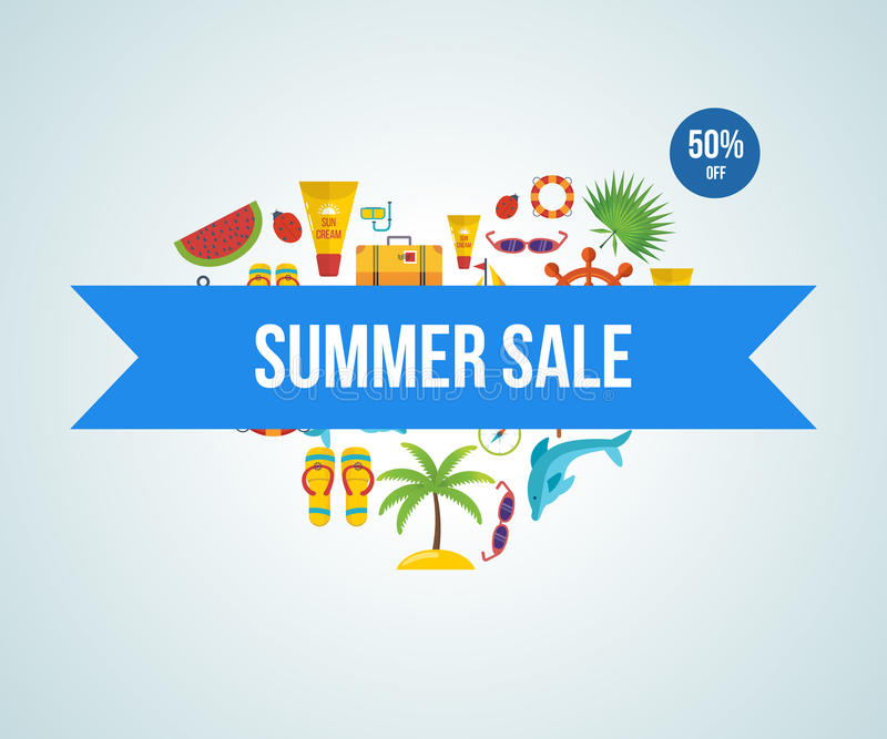 Lets travel. Summer sale. vector illustration