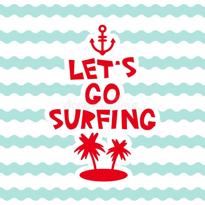 Lets va a practicar surf el diseño de tarjeta de los colores en colores pastel, isla de palma del ancla de la plantilla de la ban stock de ilustración