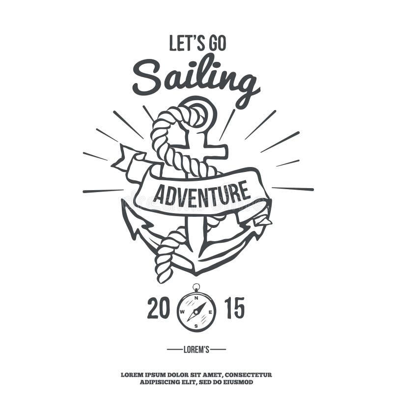 Lets vai navegar Âncora com bandeira Vetor ilustração stock