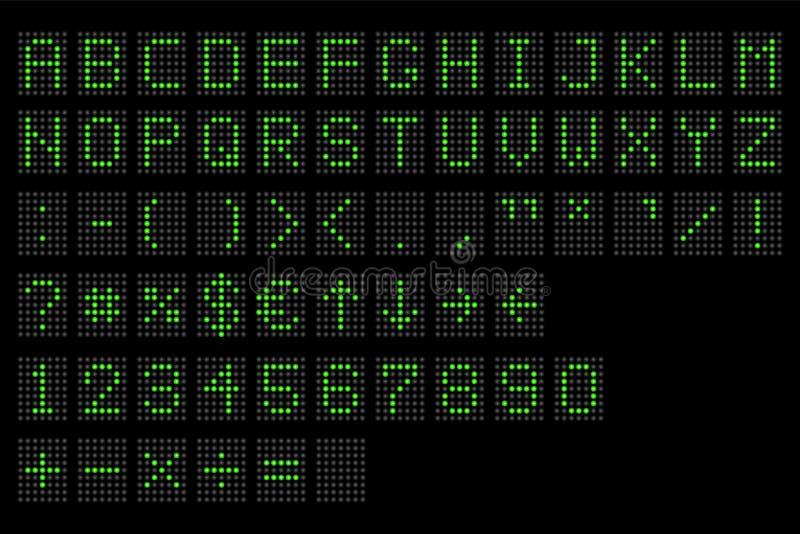 Lett digitalt alfabet Elektronisk digital skärm för nummer och för alfabet, bokstäver och symboler Digital ledde den slutliga tab royaltyfri illustrationer