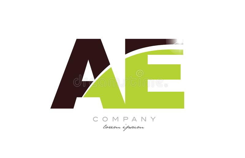 Letter ae a e alphabet combination in green and brown color for logo icon design. Letter ae a e alphabet combination logo icon design with green and brown color vector illustration
