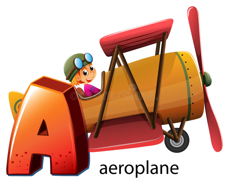 A letter A for aeroplane vector illustration
