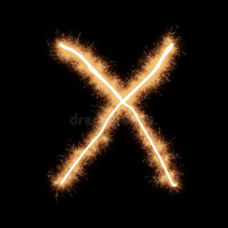 Letter X of alphabet on a black background. Letter X of alphabet written by squib sparks on a black background vector illustration