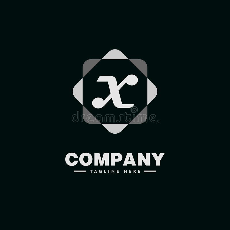 Letter X Alphabet Company Logo Design Template with Geometric Rounded Square Element 库存例证