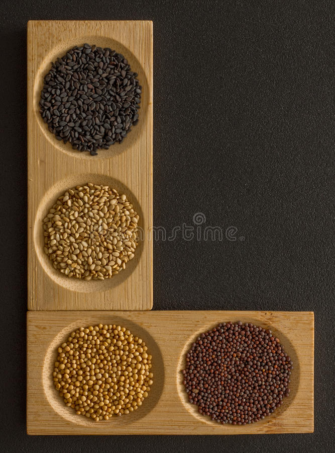Letter of the alphabet fill with spices stock image