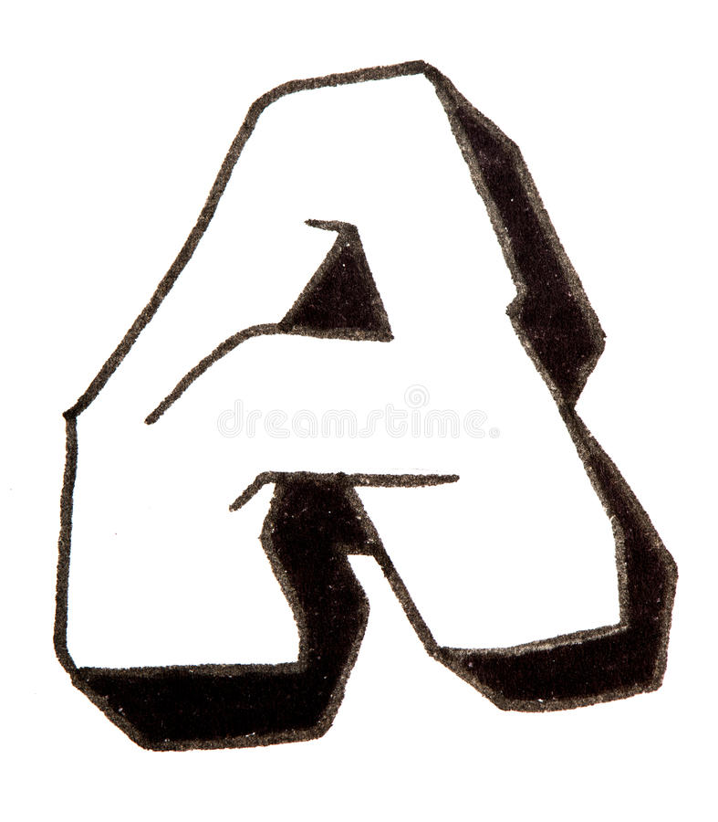 Letter A, Alphabet in graffiti style. Alphabet painted in graffity style with a black fibretip pen stock photo